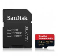 SanDisk Extreme PRO microSDXC UHS-I Card with SD adapter, 64 GB (SD-MSDXC-XPRO-64GB)